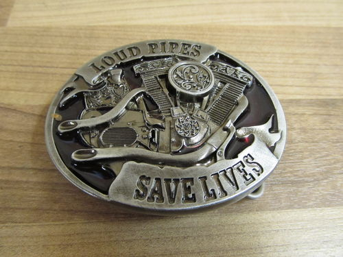 HARLEY DAVIDSON LOUD PIPES SAVE LIVES BELT BUCKLE GÜRTELSCHNALLE MASSIV